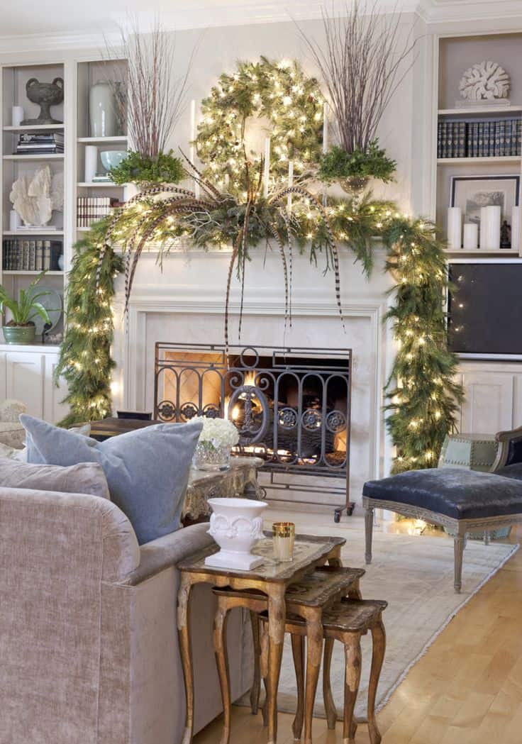 20 Mantel Christmas Decorating Ideas To Make Your Home More Festive This Holiday (10)