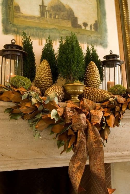 20 mantel christmas decorating ideas to make your home more festive this holiday 11 - Decorating Large Pine Cones For Christmas