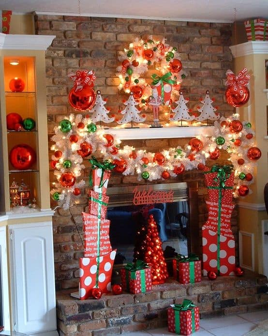 20 mantel christmas decorating ideas to make your home more festive this holiday 4 - Red And Green Christmas Decorations
