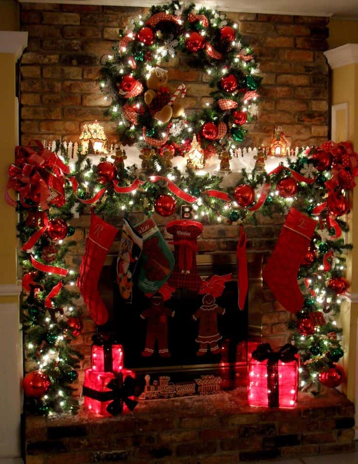 20 mantel christmas decorating ideas to make your home more festive this holiday 6 - Fireplace Christmas Decorations