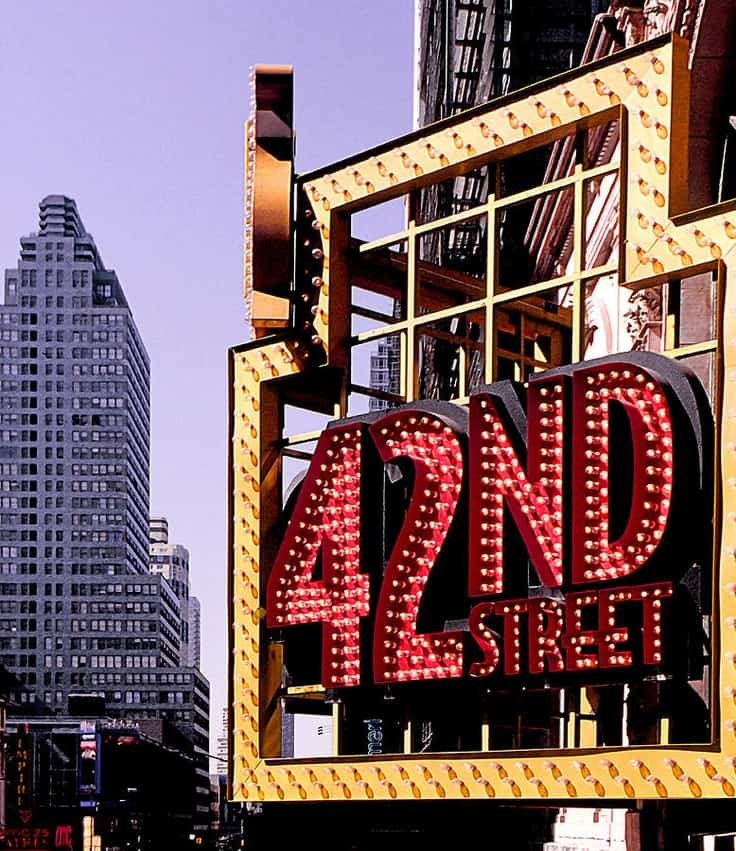#26 42nd street is a major intersection in Manhattan where most of the city's iconic landmarks are situated