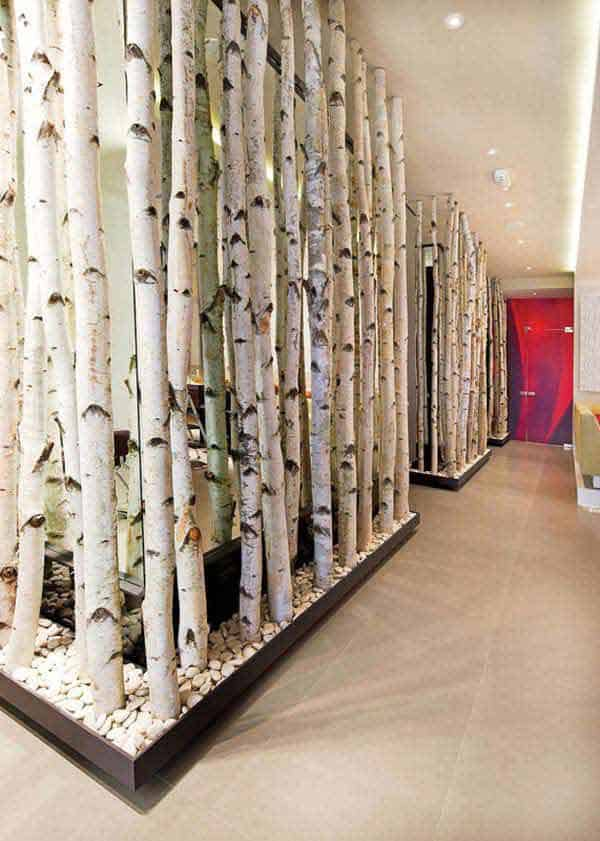 #12 USE BIRCH BRANCHES AS WALL DIVIDERS SIMULATING A FOREST