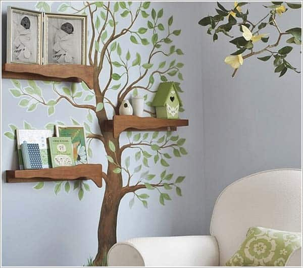 #15 PAINT A TREE BY HAND AND USE NATURAL BRANCHES TO PUT ITEMS ON IT