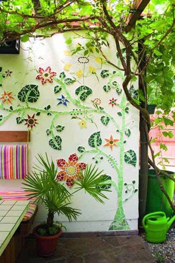 #25 MOSAIC WALL ART DEPICTING BEAUTIFUL TREES AND FLOWERS