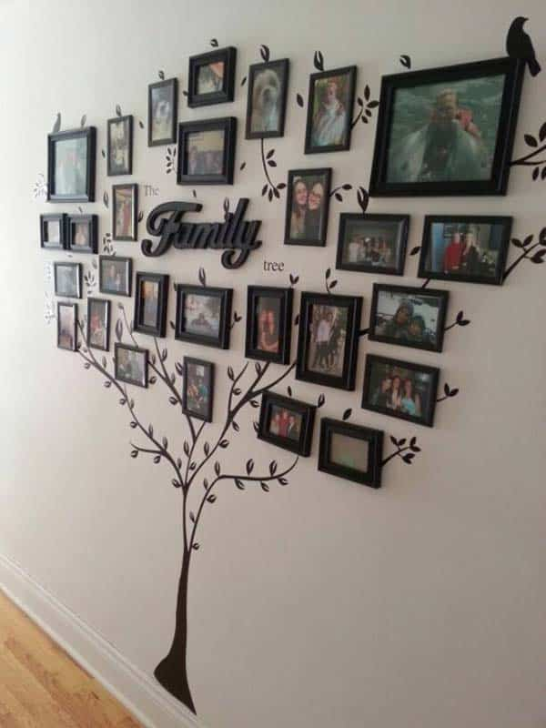 #5 CREATE A FAMILY TREE WITH VINYL STICKERS AND PICTURE FRAMES