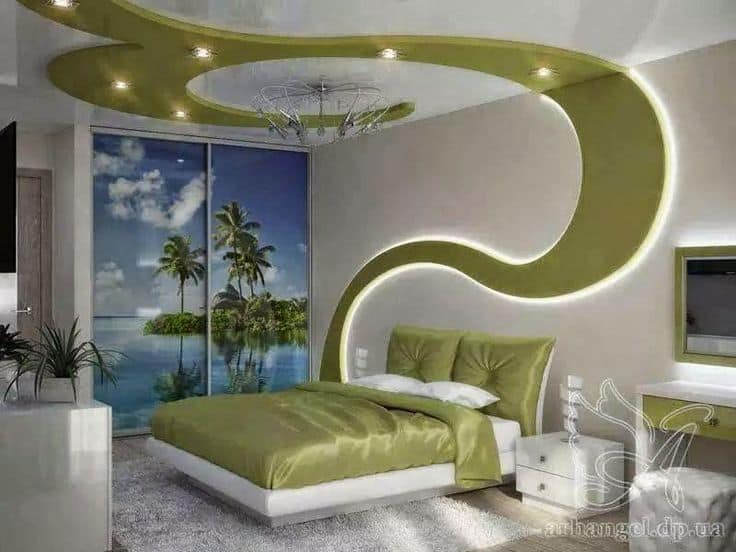 #11 CREATIVE GREEN PATTERN FALSE CEILING DESIGNS WITH DRYWALL AND LED LIGHTS