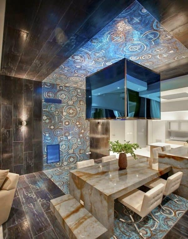 #12 CATCHY BLUE GLASS REFLECTION MODERN CEILING DESIGN FOR EVERY ROOM
