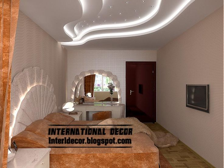 #24 STYLISH WAVE-LIKE PATTERN GYPSUM BOARD CEILING WITH WHITE LIGHTING