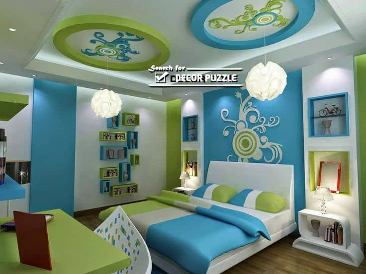 #26 BLUE AND GREEN FALSE CEILING IN KID'S BEDROOM