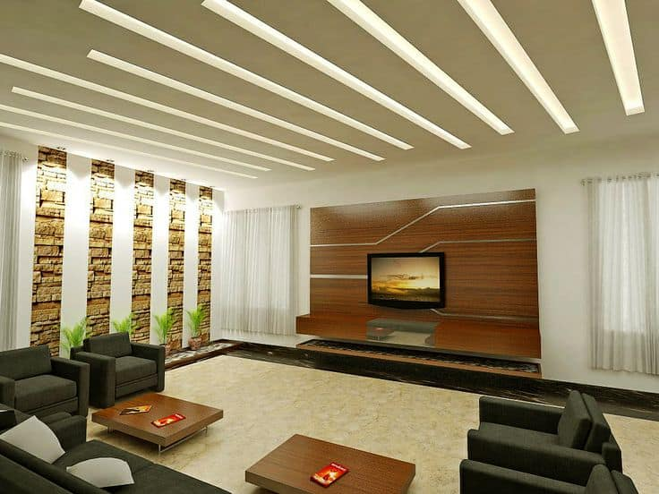 30 gorgeous gypsum false ceiling designs to consider for for Latest living hall design