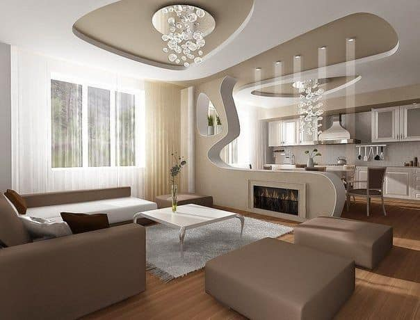 living room ceiling design.  10 WHITE DROP CEILING WITH NEUTRAL TONES 30 Gorgeous Gypsum False Ceiling Designs To Consider For Your Home Decor
