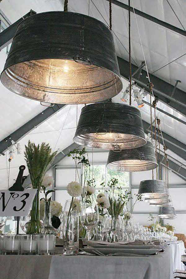 #1 CREATE INDUSTRIAL LIGHTING FIXTURES WITH GALVANIZED BUCKETS