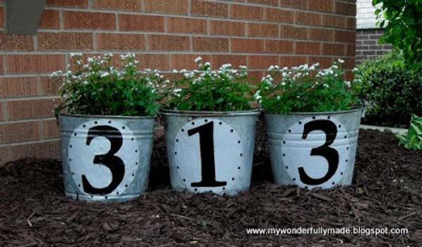 #14 MARK THE NUMBER OF YOUR PALACE WITH GALVANIZED PLANTERS