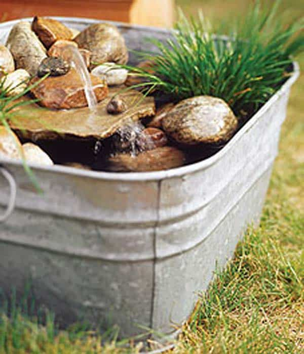 #27 TINY WATER PONDS CAN BE NESTLED IN THE INDUSTRIAL LOOK OF GALVANIZED BUCKETS