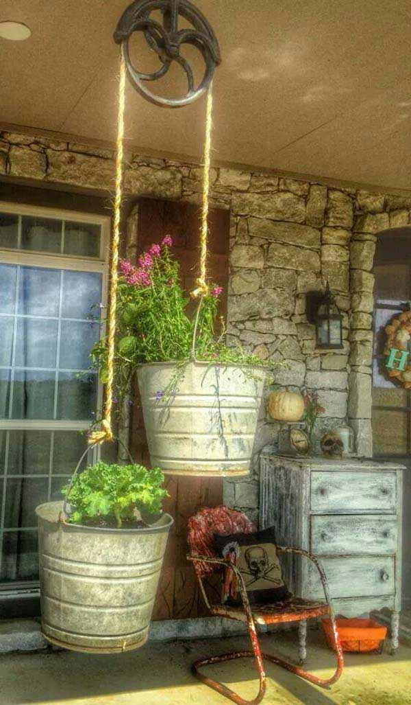 #4 USE A PULLEY TO WEIGHT YOUR SUPER COOL GALVANIZED PLANTERS