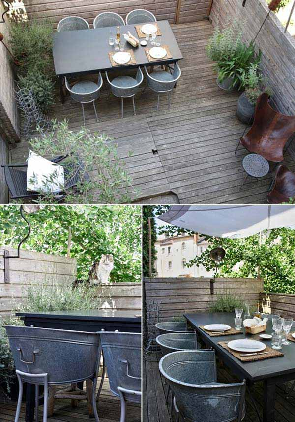 #7 USE OLD BUCKETS OR GALVANIZED BATHTUB CHAIRS IN A SMART MANNER
