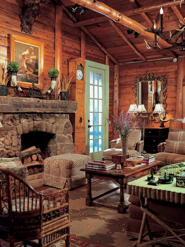 38 rustic country cabins with a stone fireplace for a for Country cabin designs