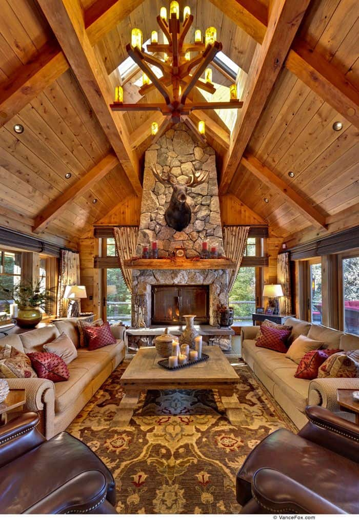 40 Rustic Country Cabin With A Stone Fireplace For Romantic Get Away 16