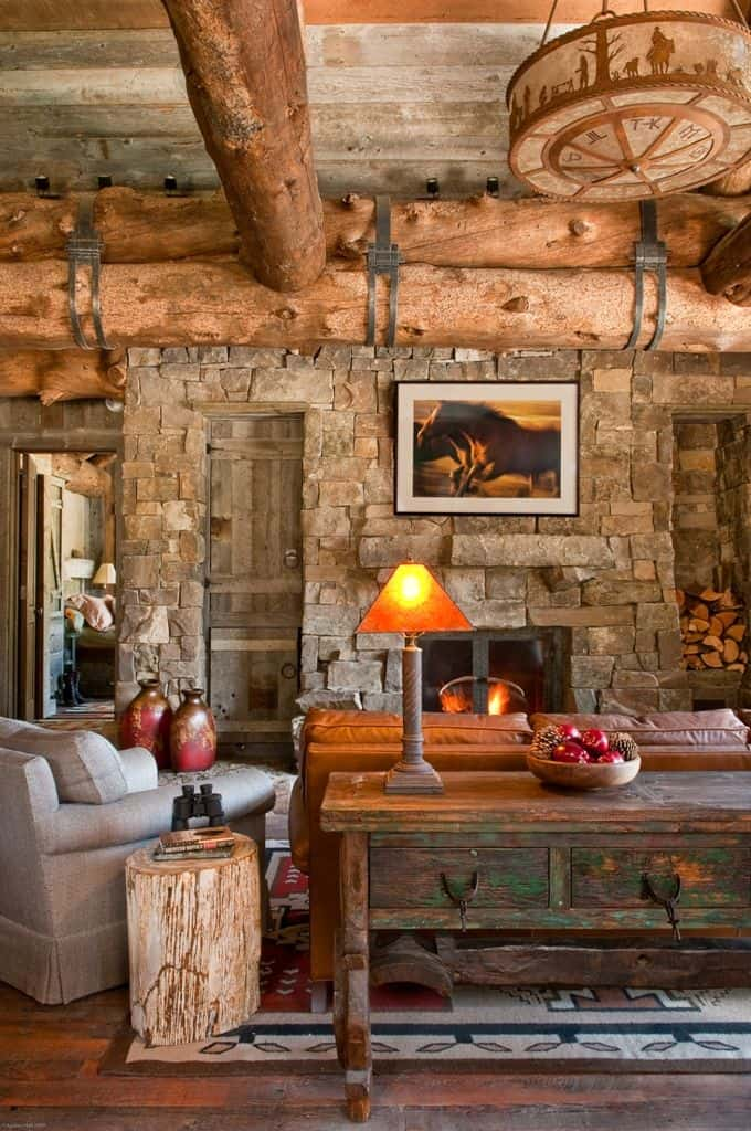 #18 RUSTIC COUNTRY LOG CABIN HOME WITH STONE FIREPLACE