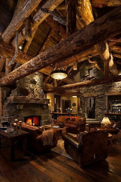 #19 RUSTIC COUNTRY HOME WITH STONE FIREPLACE WITH LOW OVERHEAD WOODEN BEAMS