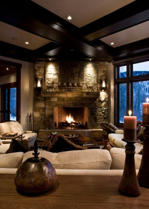 Modern Cozy Mountain Home Design Ideas 18: 38 Rustic Country Cabins With A Stone Fireplace For A Romantic Get Away