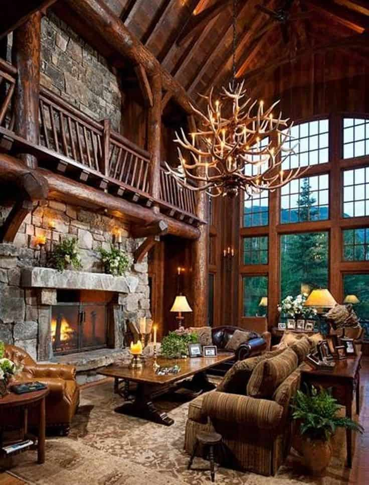 38 rustic country cabins with a stone fireplace for a for Rustic lodge