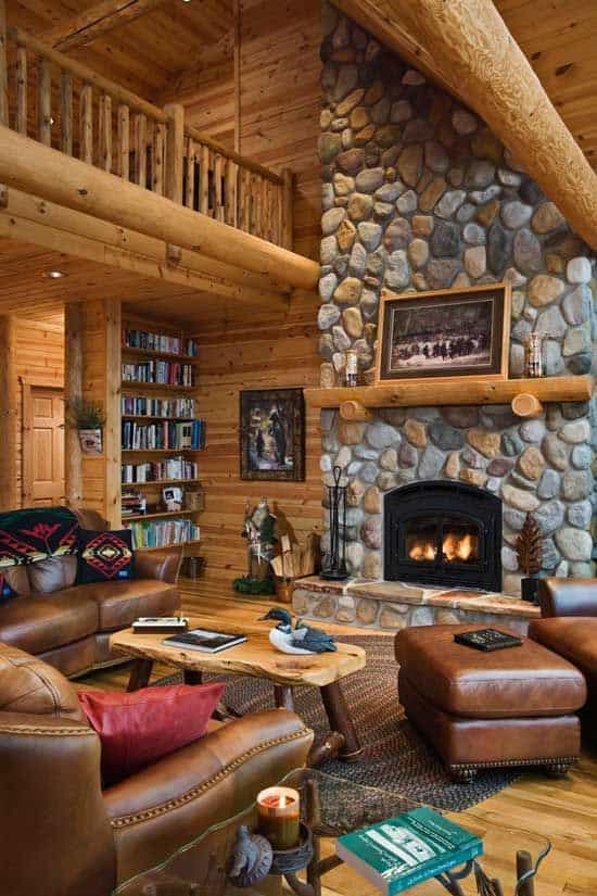 25 Absolutely Love The Wood And Stone Wall In This Log Cabin