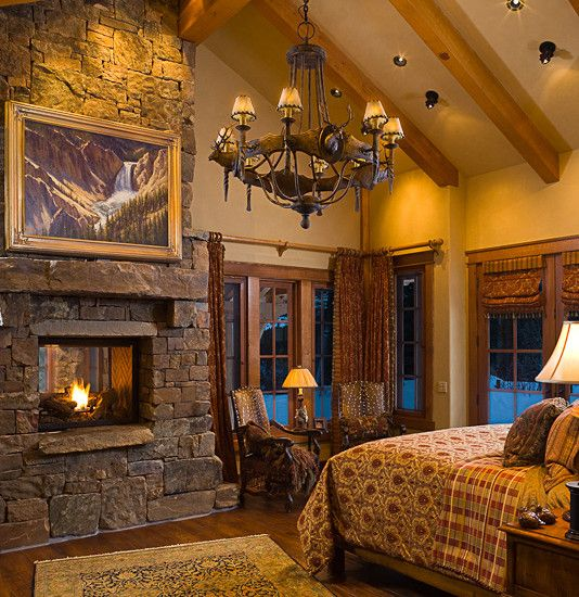 #28 VERY ROMANTIC SETTING WITH FIREPLACE IN THIS BEDROOM & 38 Rustic Country Cabins With A Stone Fireplace For A Romantic Get Away