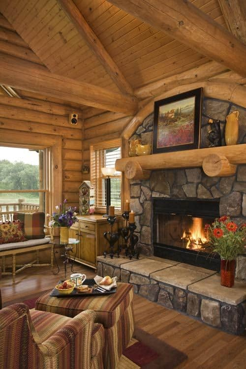 homey ideas fireplace designs.  30 FINE ELEGANT STONE FIREPLACE IN HOMEY LOG CABIN GETAWAY 38 Rustic Country Cabins With A Stone Fireplace For Romantic Get Away