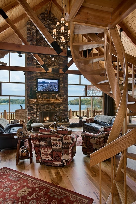38 rustic country cabins with a stone fireplace for a for Small cabin interiors photos