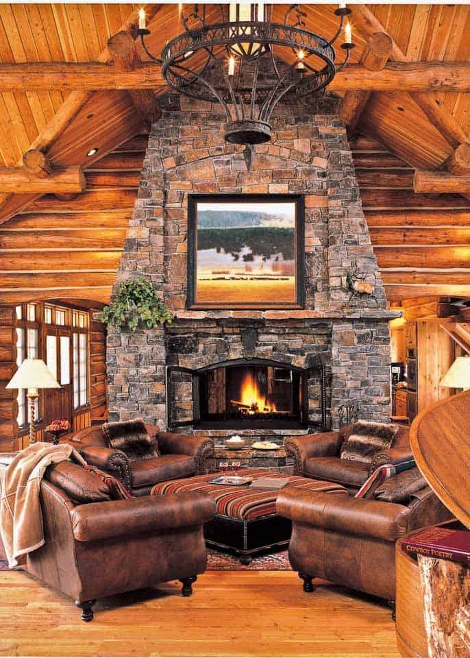 38 rustic country cabins with a stone fireplace for a romantic get away rh homesthetics net log cabin fireplaces designs log cabin fireplace construction
