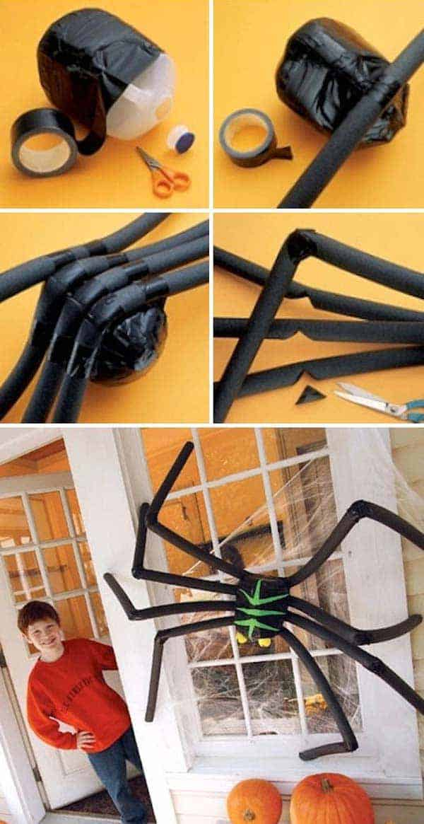 #12 CREATE A HUGE BLACK SPIDER BY USING TAPE, CARDBOARD AND A MILK JUG