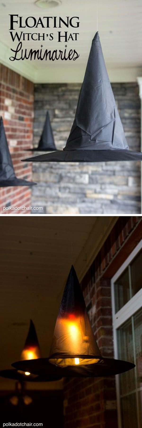 #2 ADD MAGIC TO YOUR PORCH WITH FLOATING WITCH HATS LUMINARIES
