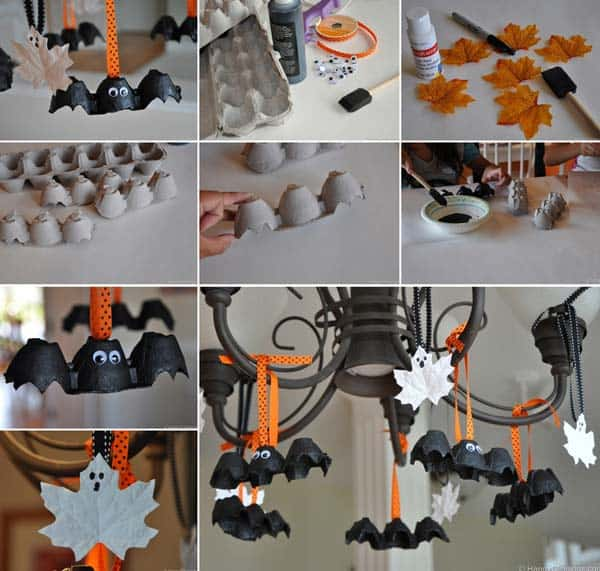 #24 USE CARDBOARD EGG BOXES TO CREATE TINY DECORATIONS FOR YOUR CHANDELIER