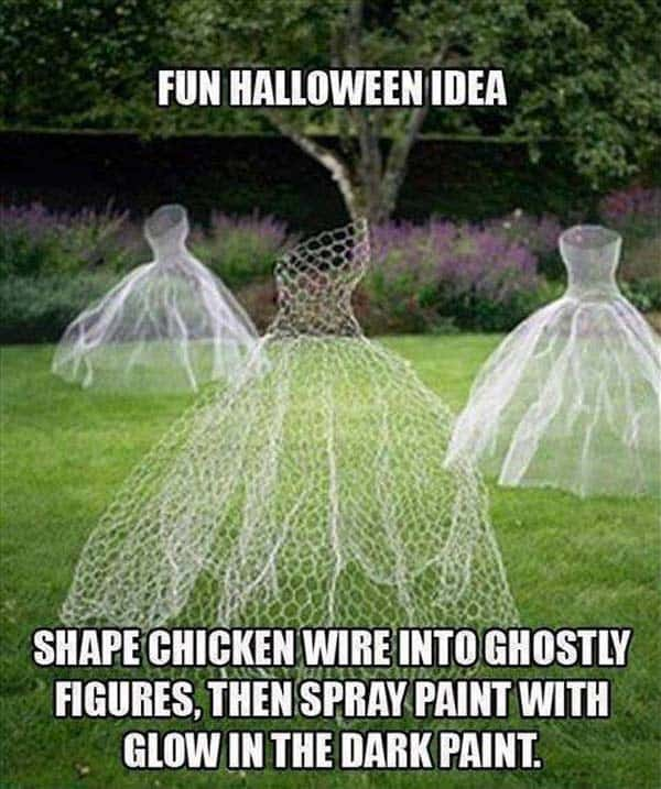 #37 SHAPE KITCHEN WIRE INTO GHOSTLY FIGURES AND USE GLOW IN THE DARK PAINT ON THEM