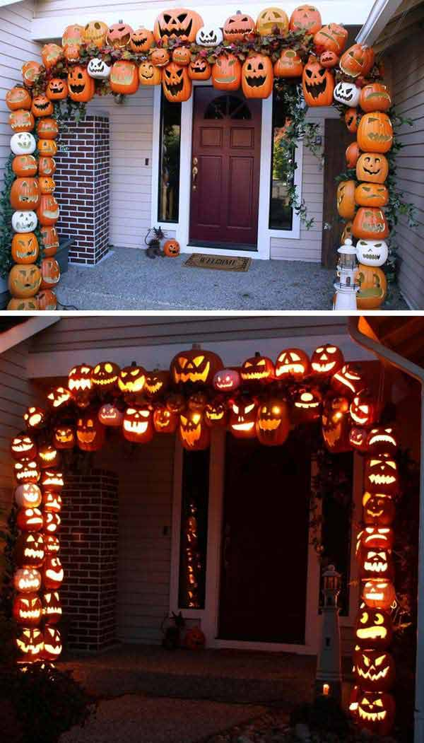 #4 Decorate Your Porch Right With A Pumpkin Arch Good Ideas