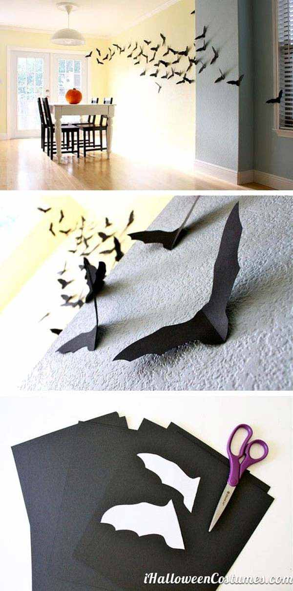 42 super smart last minute diy halloween decorations to realize 5 use small neat paper bats as wall art solutioingenieria Choice Image