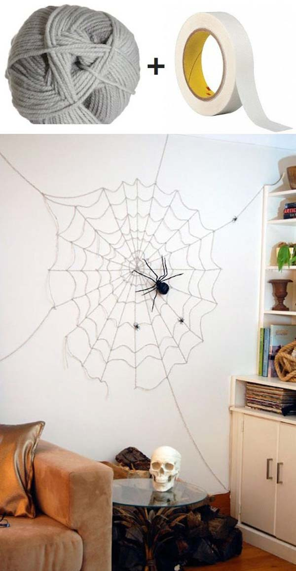 #8 CREATE A HALLOWEEN SPIDER WEB IN YOUR HOME