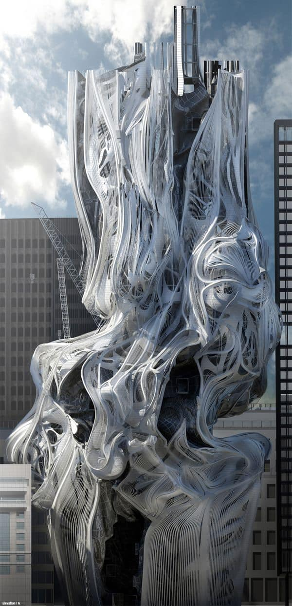 #33 THE SCI-FI TOWER SKYSCRAPER IN L.A IS AN UNCONVENTIONAL ADVANCED ARCHITECTURAL STRUCTURE CONCEPT