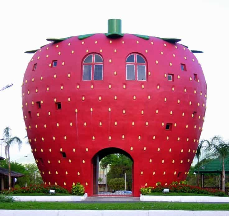 #25 THE STRAWBERRY BUILDING IN BRAZIL IS A FUN COLORFUL LITERAL DISPLAY