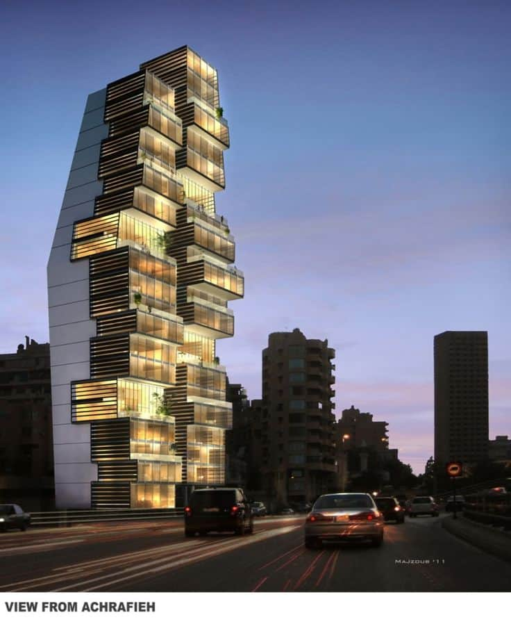#5 THE BEIRUT RESIDENTIAL BUILDING IN LEBANON IS AN UNCONVENTIONAL ARCHITECTURAL STRUCTURE
