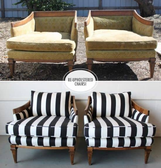 Before And After DIY Reupholstering Furniture Ideas (22)