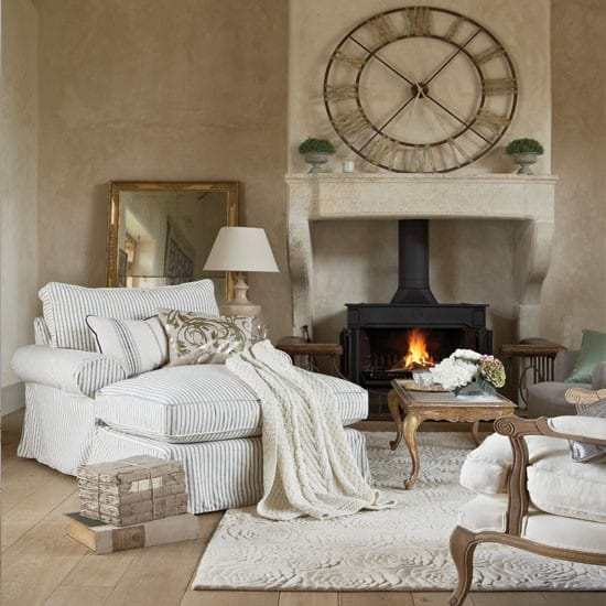 Classic Living Room Design With Fireplace And Cozy Sofa