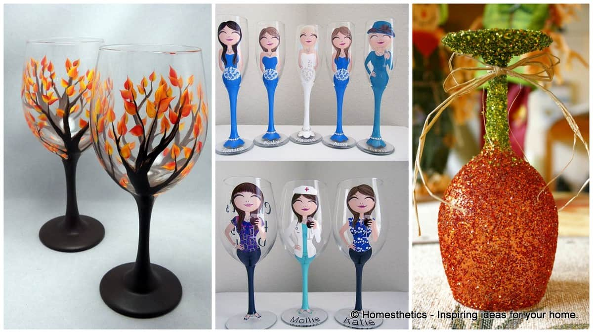 19 painted wine glass ideas to try this season for Diy painted wine glasses