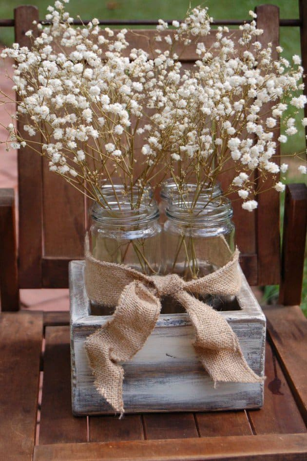 #2 nestle mason jars in beautiful wooden boxes with a jute bow