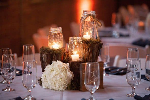 #1 use beautiful neat natural elements with mason jars and candles
