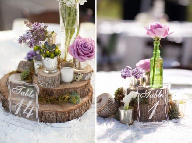 #14 slices of wood can add authenticity to each centerpiece