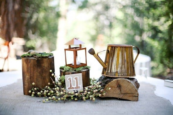 #12 use wooden logs as simple neat centerpieces