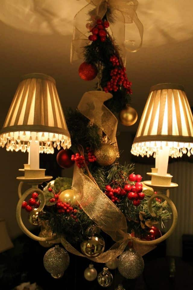 17 gorgeous christmas chandelier for a yuletide home decor 3 - How To Decorate A Chandelier For Christmas