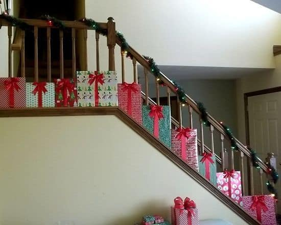 20 magical and crafty ways to decorate an indoor staircase this christmas 16